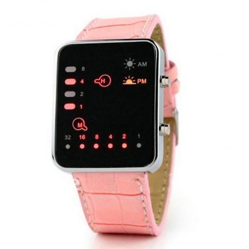 Reloj LED Binario correa color Rosa