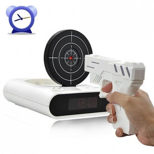 Reloj Despertador con Pistola Infrarrojos y Tiro al Blanco