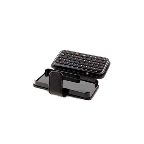 Mini Teclado Inalámbrico Bluetooth para iPhone 4 con Funda Cuero