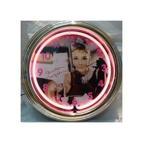 Reloj Pared Neón Luminoso Audrey Hepburn