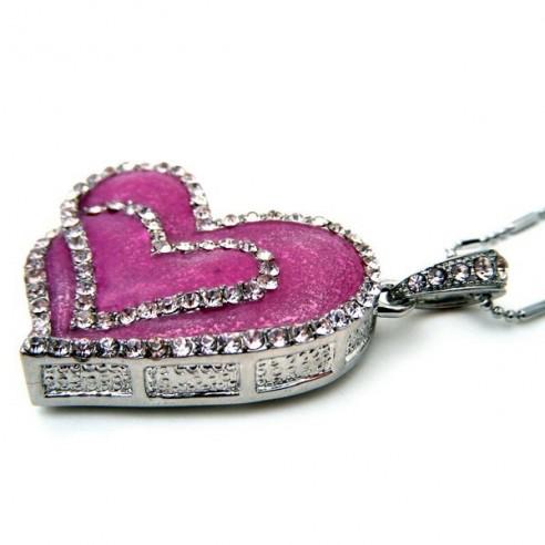 Colgante Joya USB 8GB Corazón Rosa