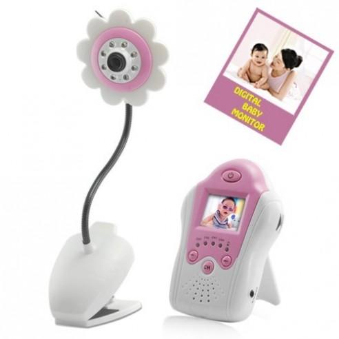Interfono Bebé Diseño Flor, Vídeo Cámara 200m, Visión Nocturna