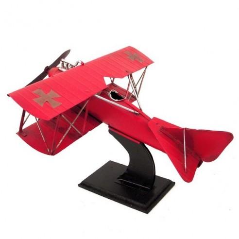 Avión Metal Envejecido Estilo Caza Biplano Barón Rojo