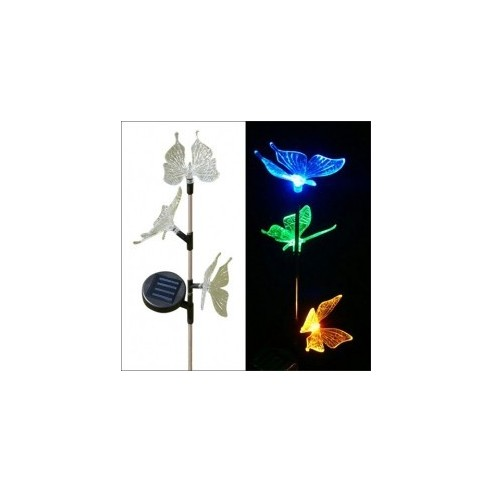 Lámpara Solar Jardín con Luces LED Multicolor y Diseño Mariposas