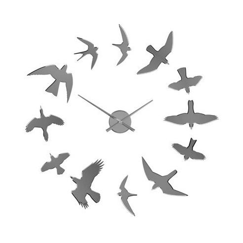 Reloj Adhesivo de Pared con Diseño Original Birds Cromado
