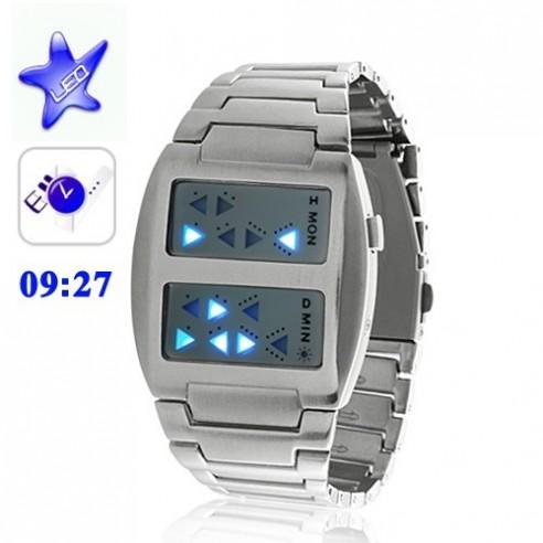 Reloj Led Azul Predator con Doble Pantalla Metálico