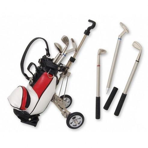 Carrito Golf Rojo con 3 Bolígrafos Colores en forma Palos