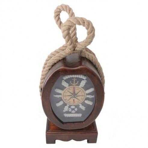 Reloj Náutico Porta Llaves con Cuerda y Nudos Marineros