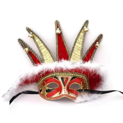 Máscara Veneciana Jolly de 5 picos y Cascabeles