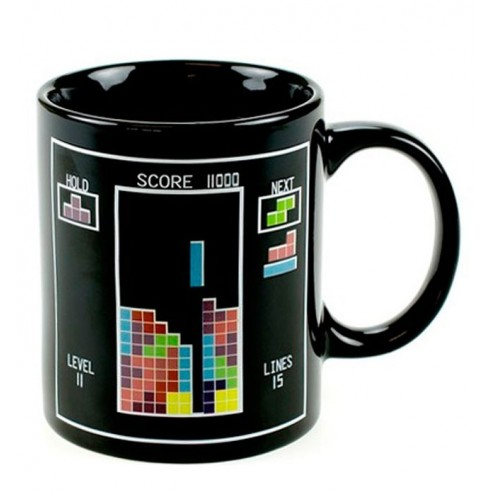 Taza Cambio Color Temperatura Diseño Tetris