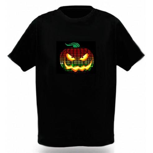 Camiseta Led Calabaza Halloween