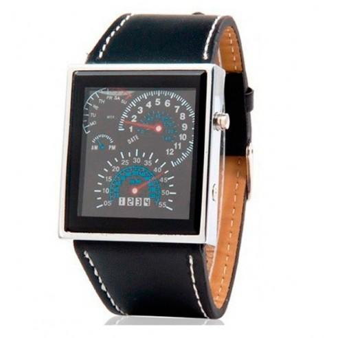 Reloj Led Velocimetro Pulsera Cuero