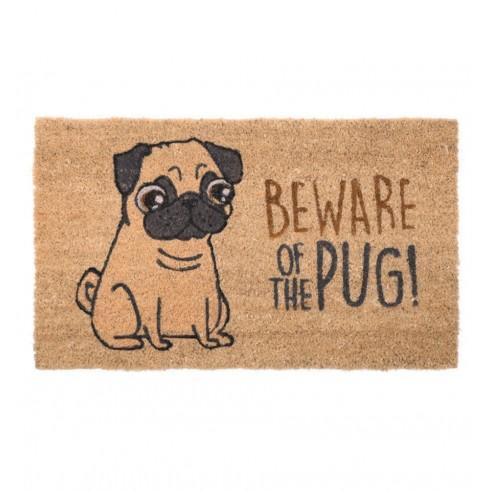 Felpudo Fibra de Coco Beware of the Pug