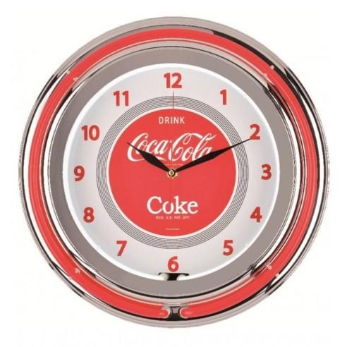 Reloj Pared doble Neón Coca-Cola