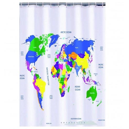 Cortina Ducha Mapa Mundo