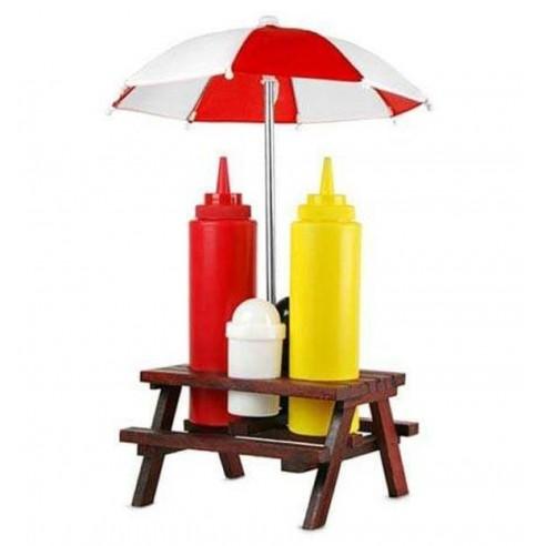 Conjunto condimentos Ketchup, Mostaza, Sal y Pimienta en Mesa Sombrilla