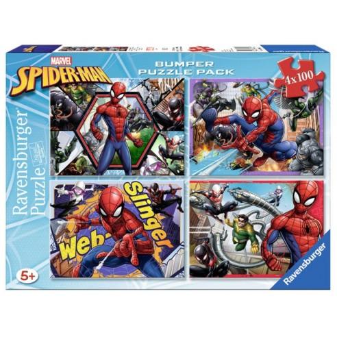 Set 4 Puzzles Spiderman Marvel 4x100 piezas