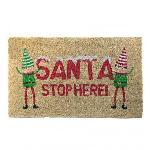 Felpudo Fibra Coco Santa Stop Here