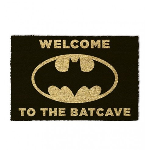 Felpudo Fibra Coco Logo Batman The Batcave Negro