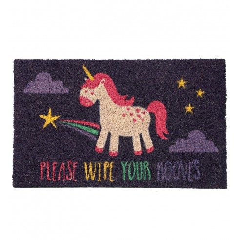 "Felpudo de Fibra de Coco Unicornio ""Please Wipe Your Hooves"""