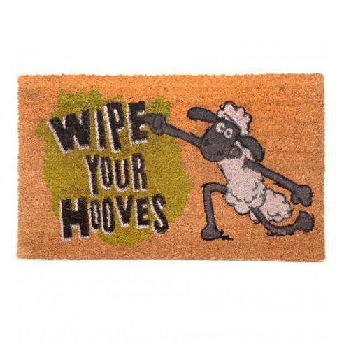 """Felpudo de Fibra de Coco Oveja Shaun """"Wipe Your Hooves"""""""