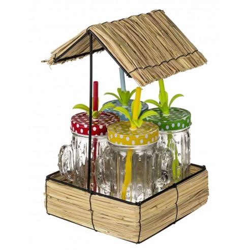 Conjunto 4 Vasos Cactus con Tapa a Rosca en Bandeja Cuadrada de Mimbre