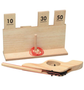 juego pistola gomas madera