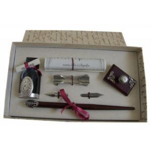 Conjunto escritura pluma madera y accesorios